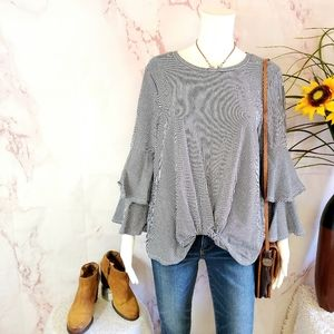 Bold Elements soft cotton blend knit knotted front top
